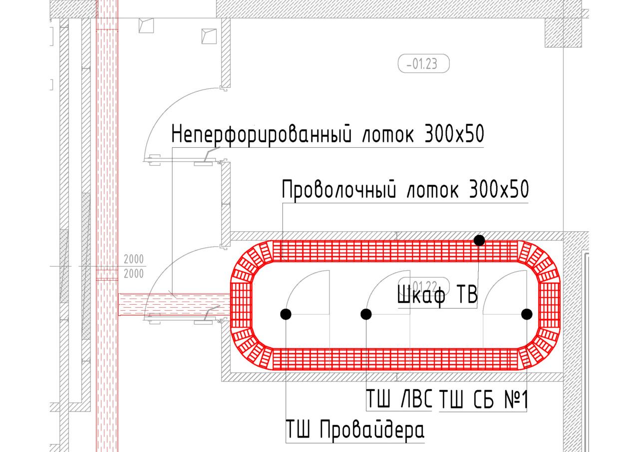 Пример прокладки лотка в помещении серверной