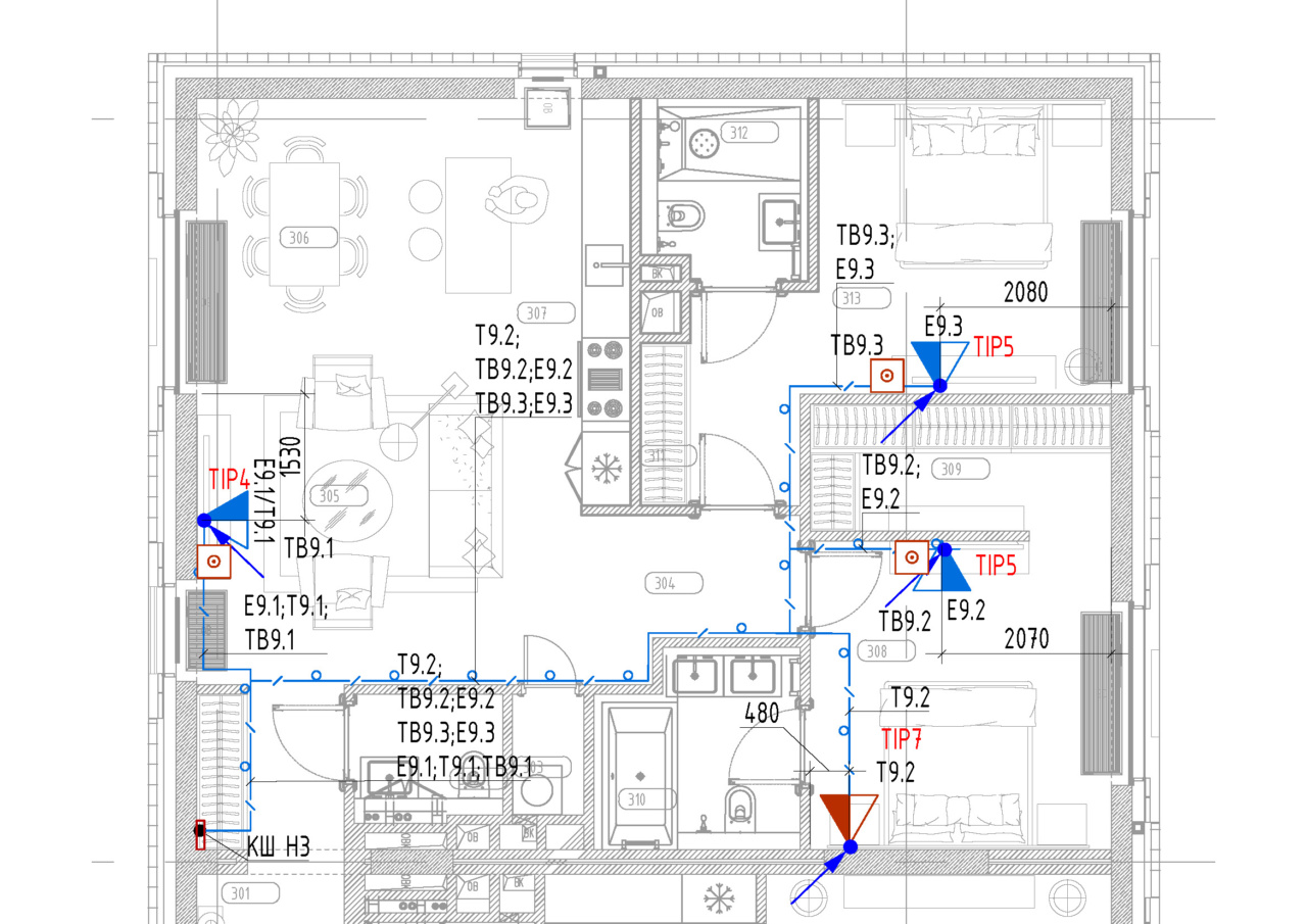 Пример расстановки рабочих мест в гостиничном номере по дизайн-проекту